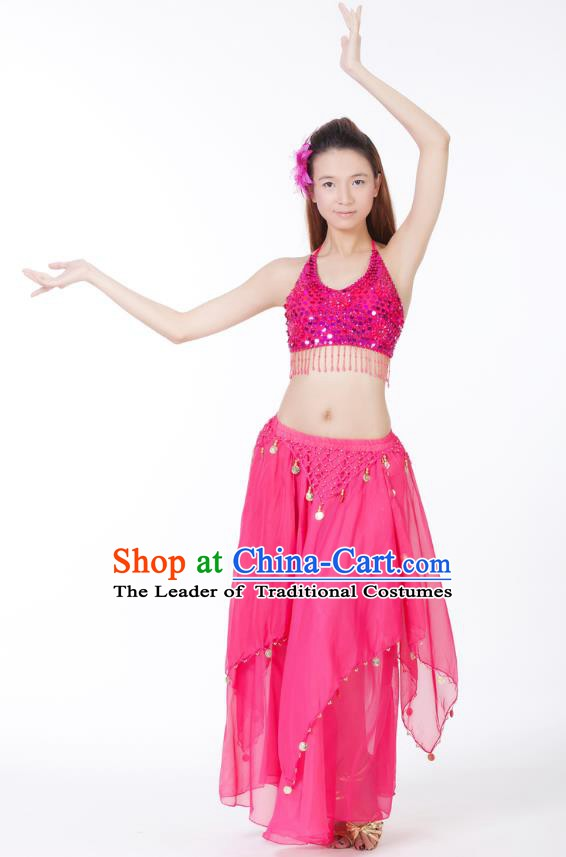 Indian Bollywood Belly Dance Rosy Tassel Dress Clothing Asian India Oriental Dance Costume for Women