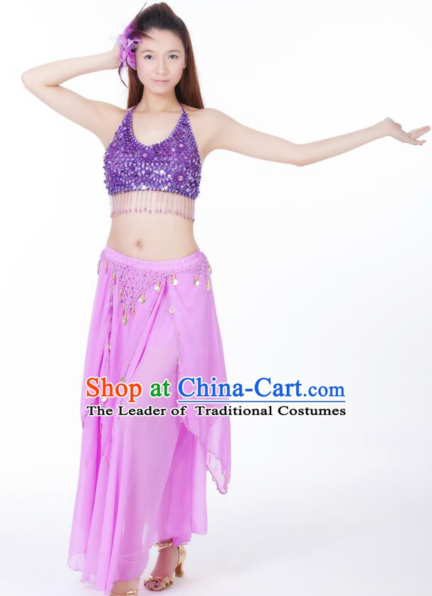 Indian Bollywood Belly Dance Lilac Tassel Dress Clothing Asian India Oriental Dance Costume for Women