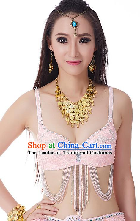 Indian Bollywood Belly Dance Pink Tassel Brassiere Asian India Oriental Dance Costume for Women