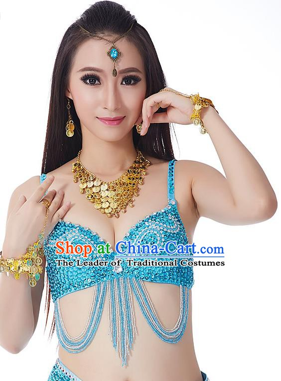 Indian Bollywood Belly Dance Blue Tassel Brassiere Asian India Oriental Dance Costume for Women