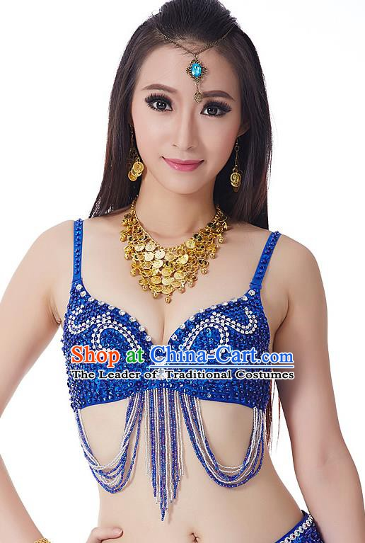 Indian Bollywood Belly Dance Royalblue Tassel Brassiere Asian India Oriental Dance Costume for Women
