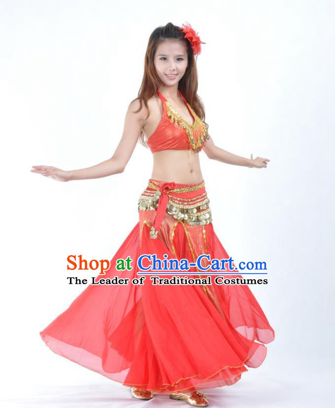 Traditional Indian Bollywood Belly Dance Red Dress Asian India Oriental Dance Costume for Women