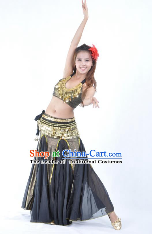 Traditional Indian Bollywood Belly Dance Black Dress Asian India Oriental Dance Costume for Women