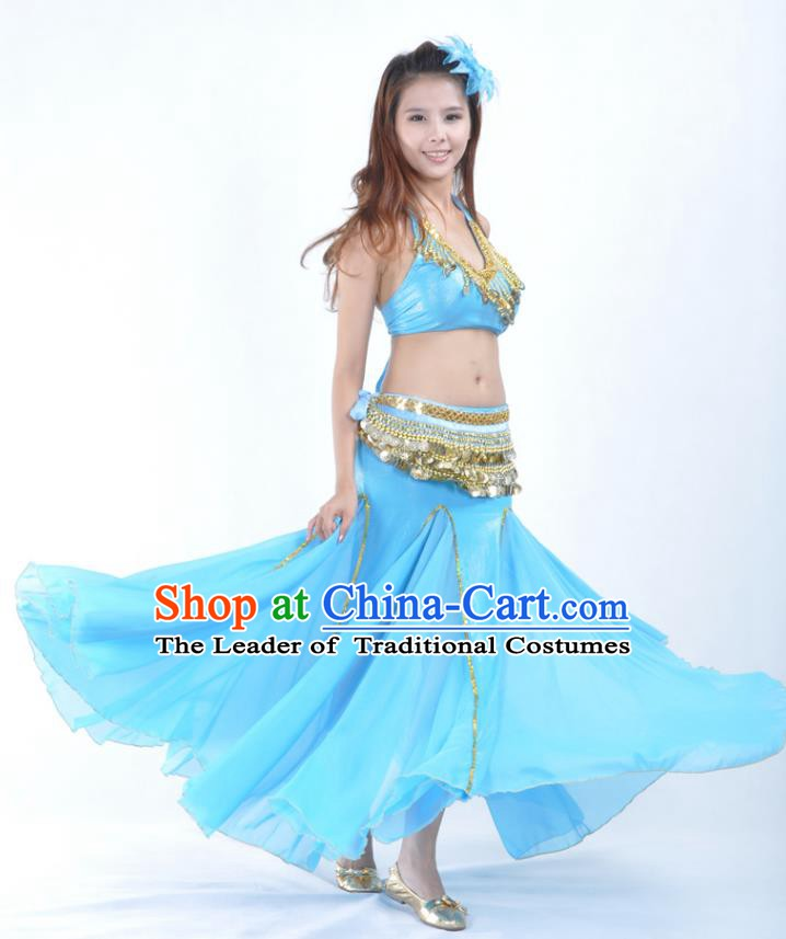 Traditional Indian Bollywood Belly Dance Blue Dress Asian India Oriental Dance Costume for Women