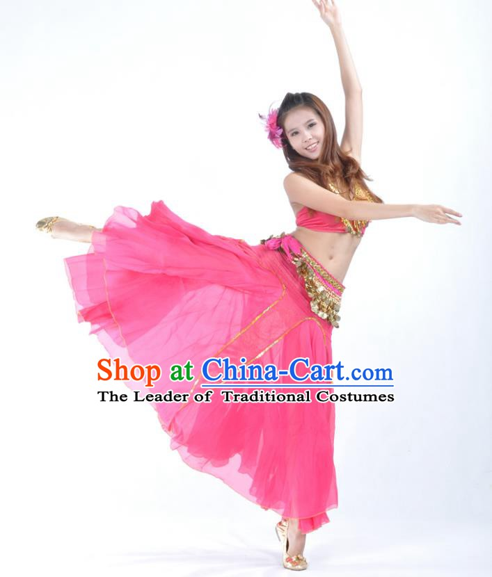 Traditional Indian Bollywood Belly Dance Rosy Dress Asian India Oriental Dance Costume for Women