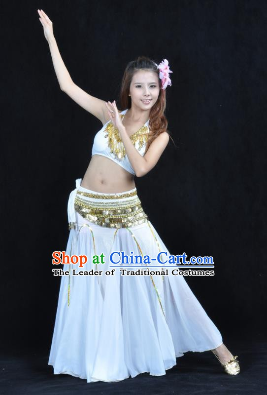 Traditional Indian Bollywood Belly Dance White Dress Asian India Oriental Dance Costume for Women