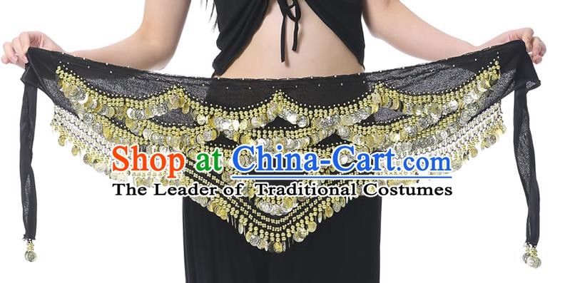 Indian Belly Dance Black Waistband India Raks Sharki Paillette Belts Waist Accessories for Women
