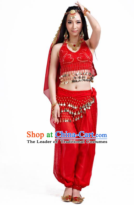 Traditional Indian Belly Dance Sequined Red Dress Asian India Oriental Dance Costume for Women