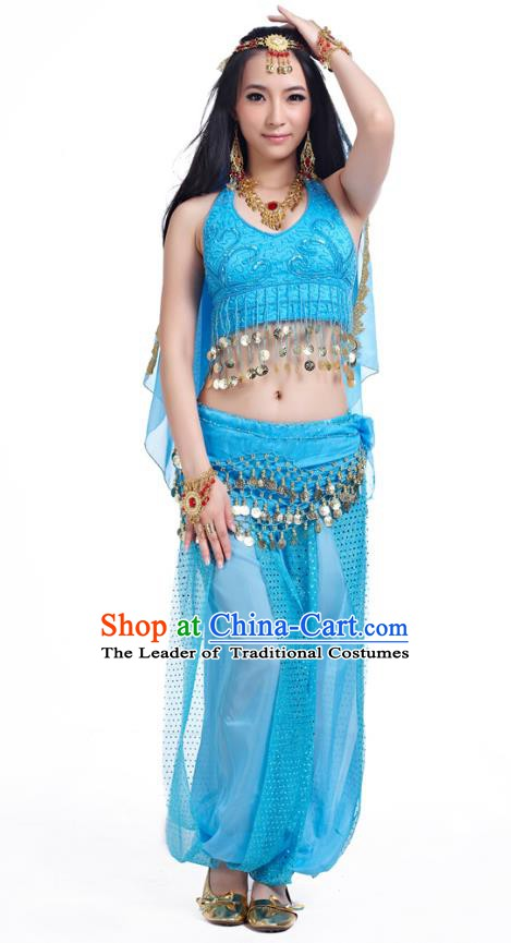 Traditional Indian Belly Dance Sequined Blue Dress Asian India Oriental Dance Costume for Women