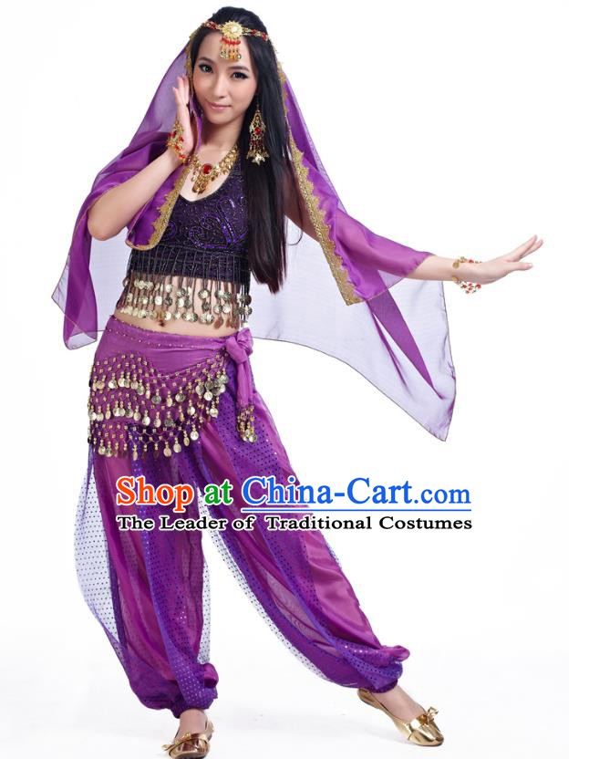 Traditional Indian Belly Dance Sequined Purple Dress Asian India Oriental Dance Costume for Women