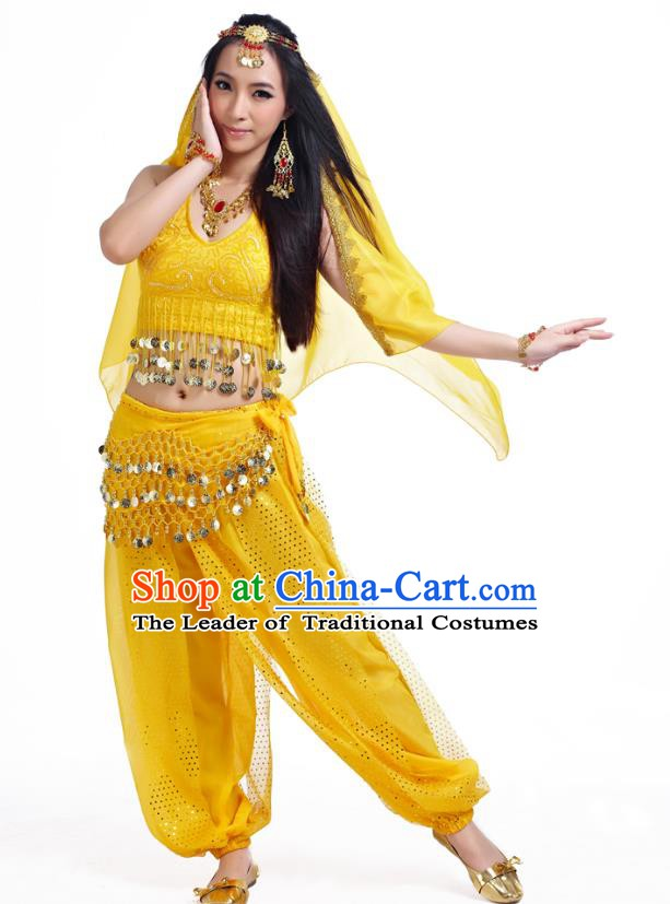 Traditional Indian Belly Dance Sequined Yellow Dress Asian India Oriental Dance Costume for Women