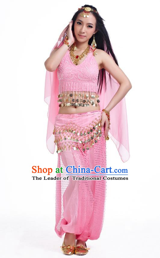 Traditional Indian Belly Dance Sequined Pink Dress Asian India Oriental Dance Costume for Women
