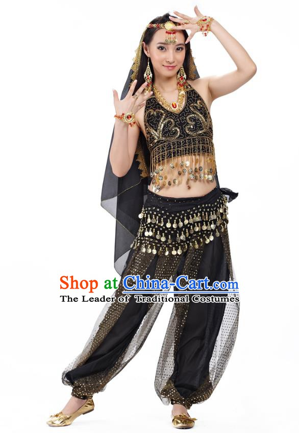 Traditional Indian Belly Dance Sequined Black Dress Asian India Oriental Dance Costume for Women