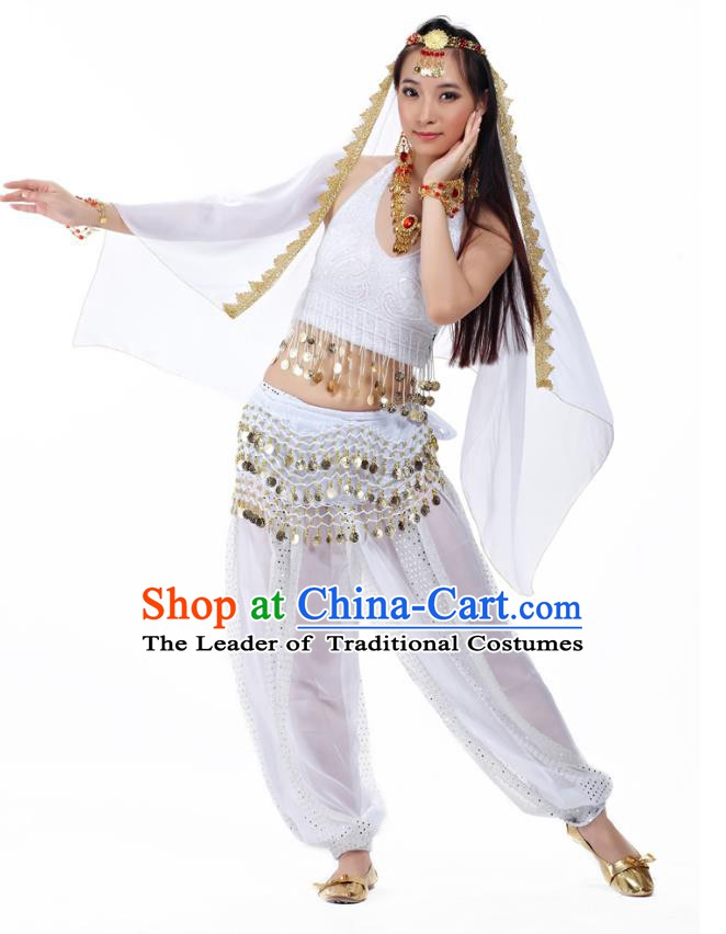 Traditional Indian Belly Dance Sequined White Dress Asian India Oriental Dance Costume for Women