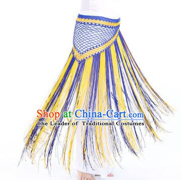 Indian Belly Dance Blue and Yellow Tassel Waist Scarf Waistband India Raks Sharki Belts for Women