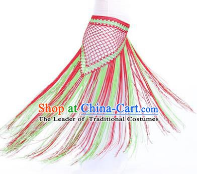 Indian Belly Dance Green and Red Tassel Waist Scarf Waistband India Raks Sharki Belts for Women