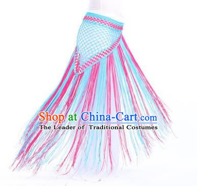 Indian Belly Dance Blue and Rosy Tassel Waist Scarf Waistband India Raks Sharki Belts for Women