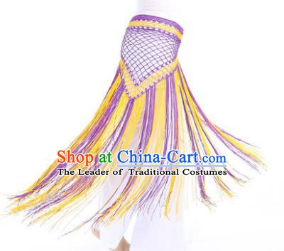 Indian Belly Dance Purple and Yellow Tassel Waist Scarf Waistband India Raks Sharki Belts for Women