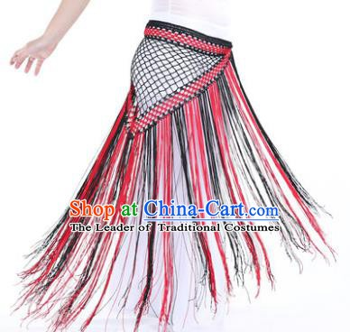 Indian Belly Dance Black and Red Tassel Waist Scarf Waistband India Raks Sharki Belts for Women