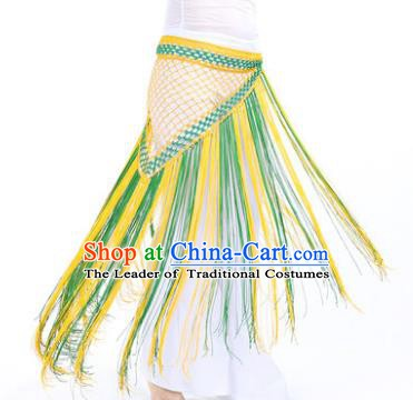 Indian Belly Dance Yellow and Green Tassel Waist Scarf Waistband India Raks Sharki Belts for Women