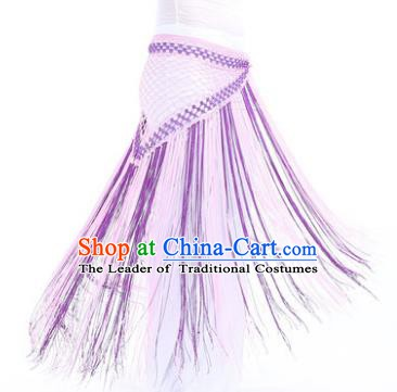 Indian Belly Dance Purple and Pink Tassel Waist Scarf Waistband India Raks Sharki Belts for Women