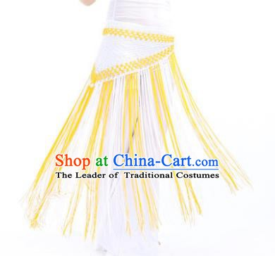 Indian Belly Dance White and Yellow Tassel Waist Scarf Waistband India Raks Sharki Belts for Women
