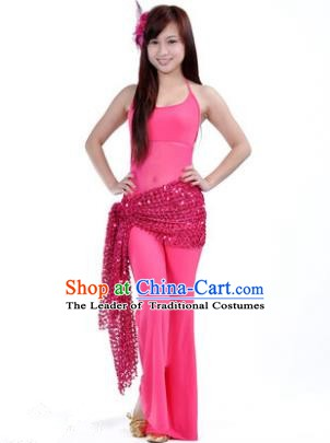 Traditional Indian Belly Dance Oriental Dance Rosy Costume for Women