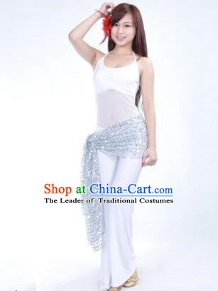 Traditional Indian Belly Dance Oriental Dance White Costume for Women