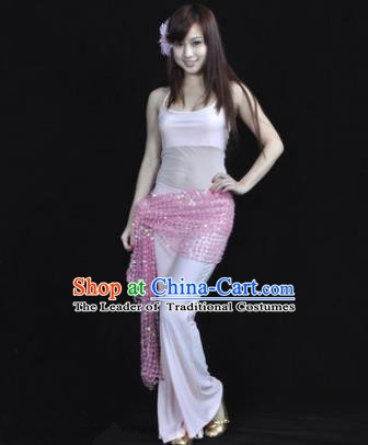 Traditional Indian Belly Dance Oriental Dance Pink Costume for Women