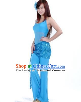 Traditional Indian Belly Dance Oriental Dance Blue Costume for Women