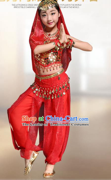 Traditional Indian National Belly Dance Red Clothing India Oriental Dance Costume for Kids