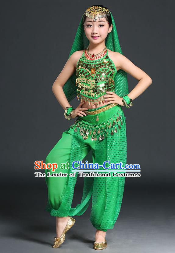 Traditional Indian National Belly Dance Green Clothing India Oriental Dance Costume for Kids