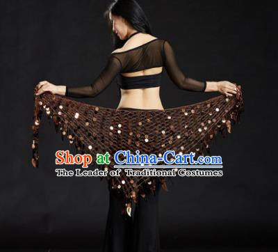 Indian Belly Dance Brown Sequin Waist Scarf Waistband India Raks Sharki Belts for Women