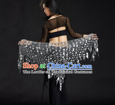Indian Belly Dance White Sequin Waist Scarf Waistband India Raks Sharki Belts for Women