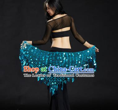 Indian Belly Dance Blue Sequin Waist Scarf Waistband India Raks Sharki Belts for Women
