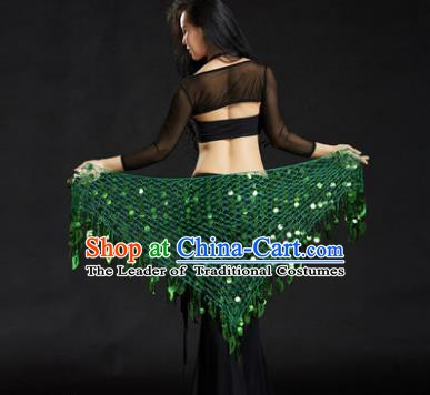 Indian Belly Dance Green Sequin Waist Scarf Waistband India Raks Sharki Belts for Women