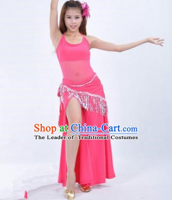 Traditional Indian National Belly Dance Rosy Dress India Oriental Dance Costume for Women