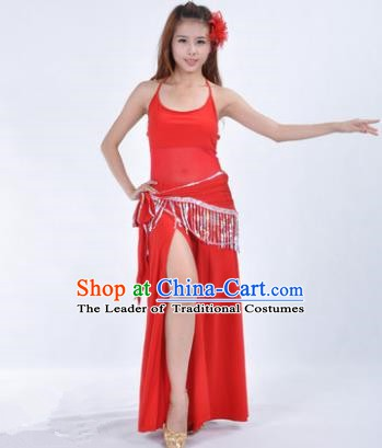 Traditional Indian National Belly Dance Red Dress India Oriental Dance Costume for Women