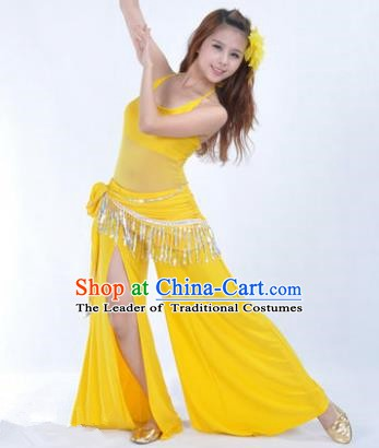 Traditional Indian National Belly Dance Yellow Dress India Oriental Dance Costume for Women