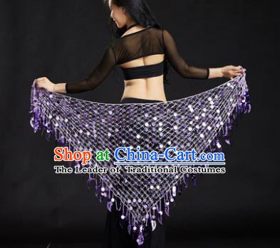 Indian Belly Dance Purple Sequin Waist Scarf Waistband India Raks Sharki Belts for Women