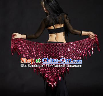 Indian Belly Dance Rosy Sequin Waist Scarf Waistband India Raks Sharki Belts for Women