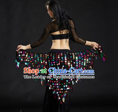 Indian Belly Dance Colorful Sequin Waist Scarf Waistband India Raks Sharki Belts for Women