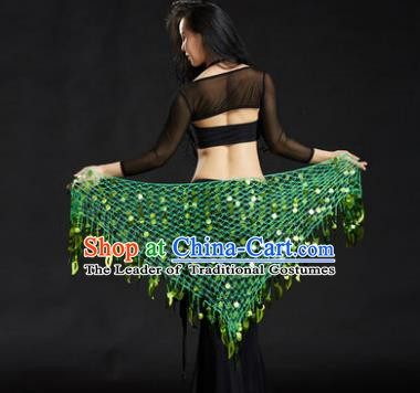 Indian Belly Dance Light Green Sequin Waist Scarf Waistband India Raks Sharki Belts for Women