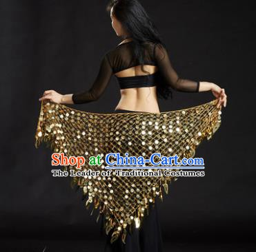 Indian Belly Dance Golden Sequin Waist Scarf Waistband India Raks Sharki Belts for Women