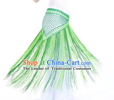Indian Belly Dance Green Tassel Waist Scarf Waistband India Raks Sharki Belts for Women