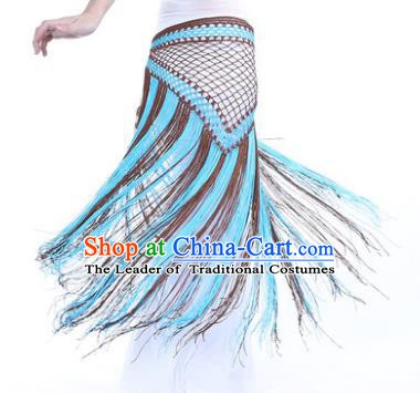 Indian Belly Dance Blue and Brown Tassel Waist Scarf Waistband India Raks Sharki Belts for Women