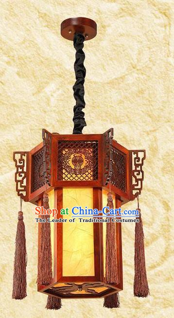 Traditional Chinese Wood Palace Lanterns Handmade Hanging Lantern Ancient Ceiling Lamp