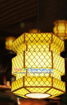 Traditional Chinese Yellow Parchment Palace Lanterns Handmade Hanging Lantern Ancient Ceiling Lamp