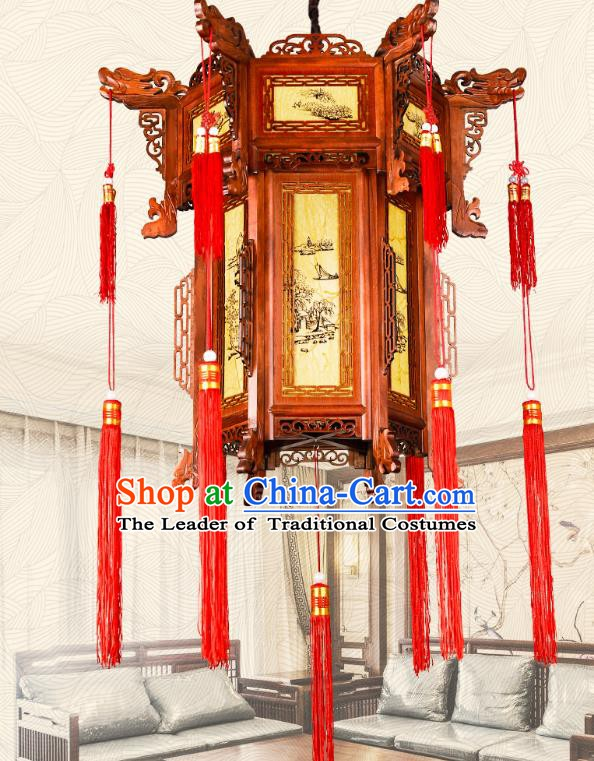 Traditional Chinese Palace Lanterns Handmade Wood Hanging Lantern Ancient Ceiling Lamp