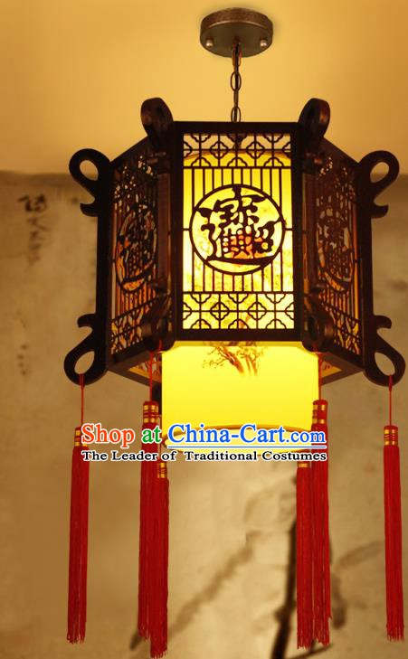 Traditional Chinese Carving Hanging Palace Lanterns Handmade Painted Lantern Ancient Ceiling Lamp